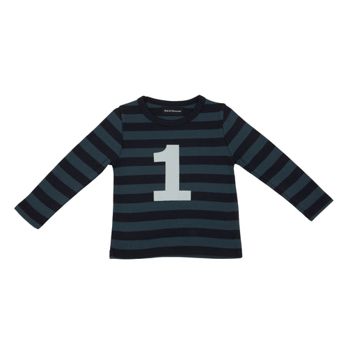 Bob & Blossom Vintage Blue & Navy Striped Number 1 T Shirt