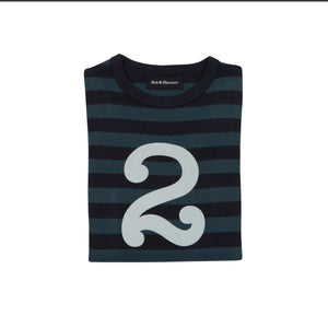 Bob & Blossom Vintage Blue & Navy Striped Number 2 T Shirt