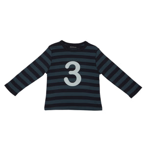 Bob & Blossom Vintage Blue & Navy Striped Number 3 T Shirt