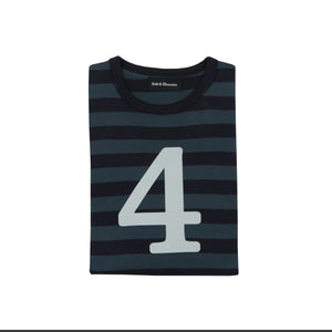 Bob & Blossom Vintage Blue & Navy Striped Number 4 T Shirt