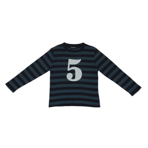 Bob & Blossom Vintage Blue & Navy Striped Number 5 T Shirt