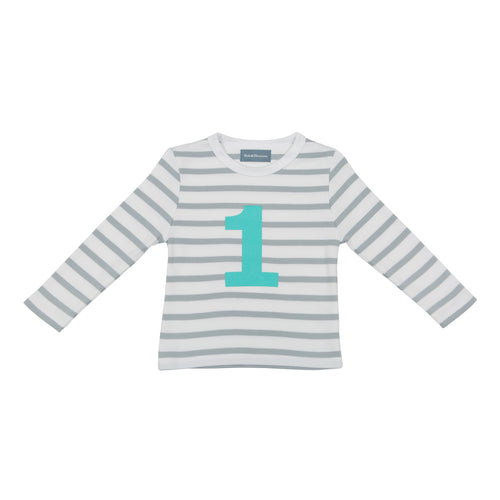 Bob & Blossom grey and white striped long sleeved t shirt with turquoise number 1