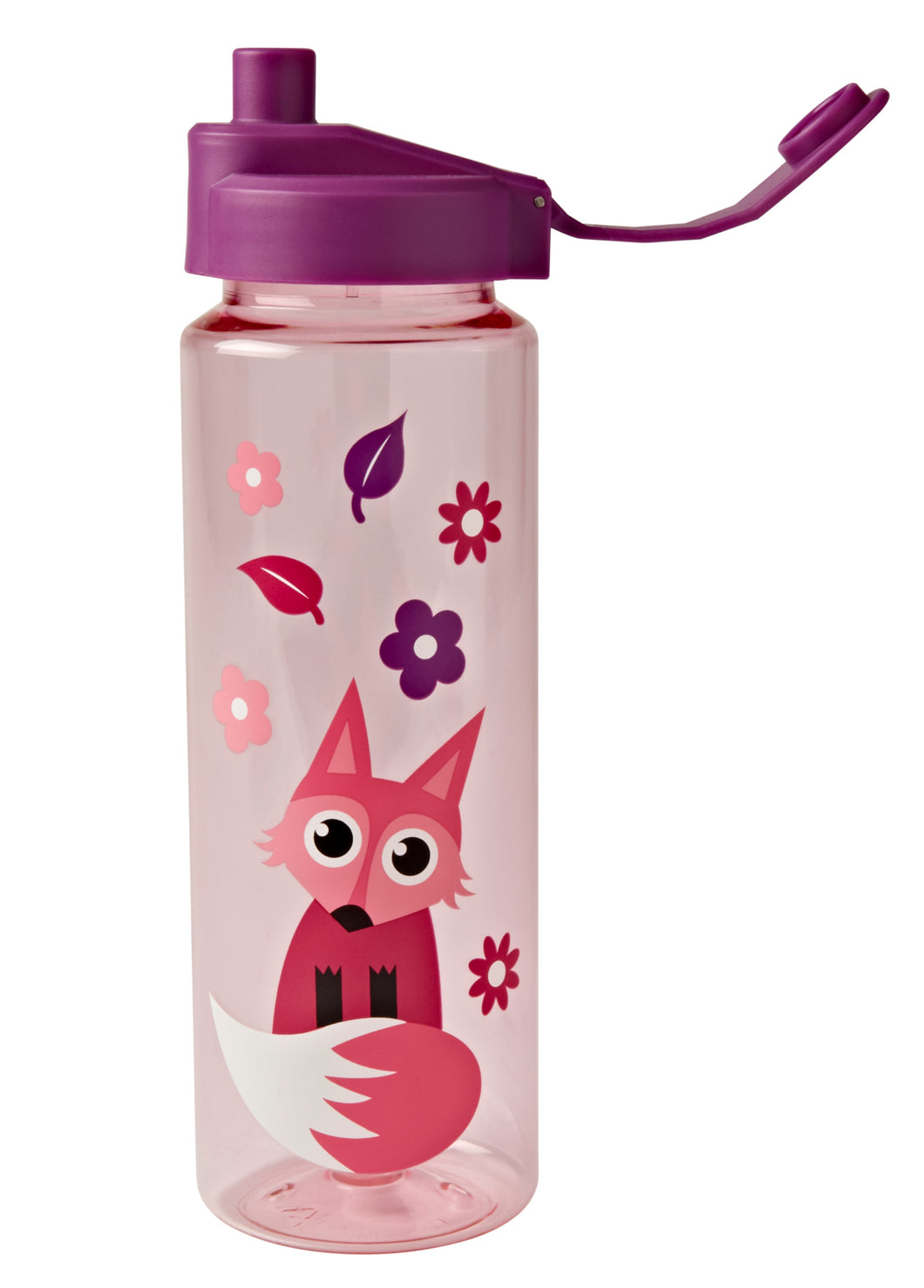 Tinc water bottle in pink and purple woodland animals design