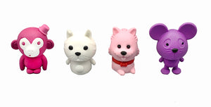 Tinc animal eraser collection in pink and purple