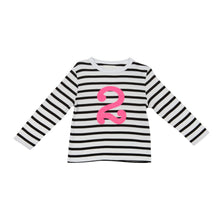 Load image into Gallery viewer, Bob & Blossom black and white striped long sleeved t shirt with hot pink number 2