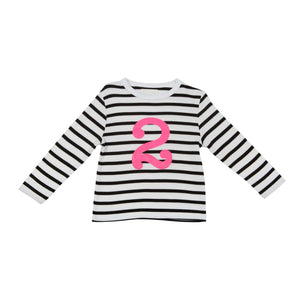 Bob & Blossom black and white striped long sleeved t shirt with hot pink number 2