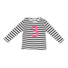 Load image into Gallery viewer, Bob & Blossom black and white striped long sleeved t shirt with hot pink number 3