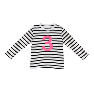 Bob & Blossom black and white striped long sleeved t shirt with hot pink number 3
