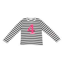 Load image into Gallery viewer, Bob & Blossom black and white striped long sleeved t shirt with hot pink number 4