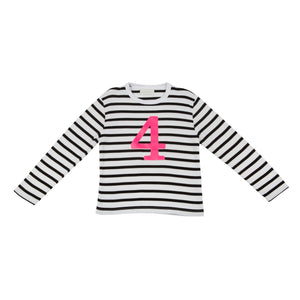 Bob & Blossom black and white striped long sleeved t shirt with hot pink number 4