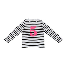 Load image into Gallery viewer, Bob & Blossom black and white striped long sleeved t shirt with hot pink number 5