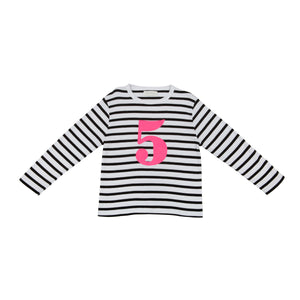 Bob & Blossom black and white striped long sleeved t shirt with hot pink number 5