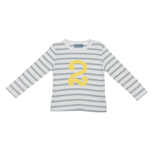 Bob & Blossom grey and white striped long sleeved t shirt with yellow number 2