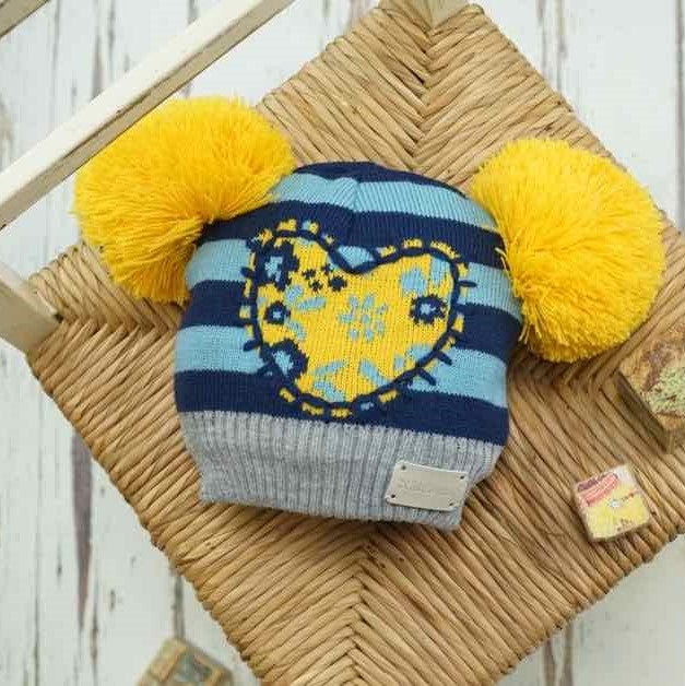 Blade & Rose Floral Blue & Yellow Heart Bobble Hat