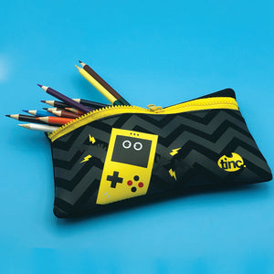 Tinc neoprene pencil case with gaming design in black and yellow