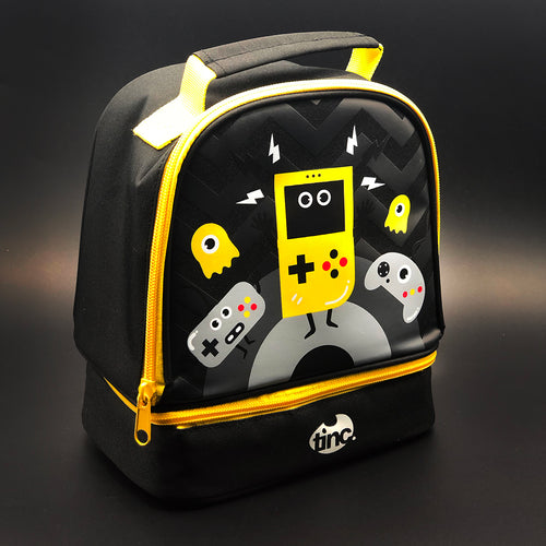 Tinc lunchbox with gaming design in black and yellow