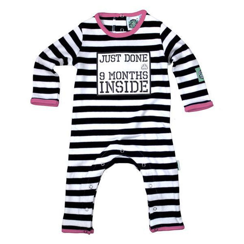Lazy Baby black & white striped babygrow with just done 9 months inside slogan and hot pink trim