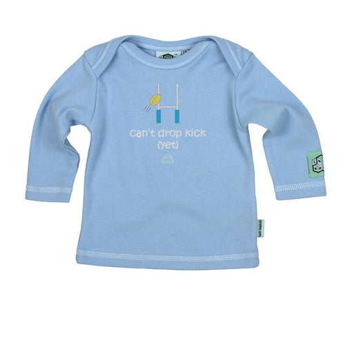 Lazy Baby can't drop kick yet t shirt in baby blue