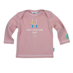 Lazy Baby can't drop kick yet t shirt in baby pink