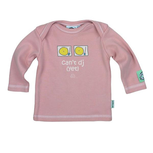 Lazy Baby can't DJ yet t shirt in baby pink