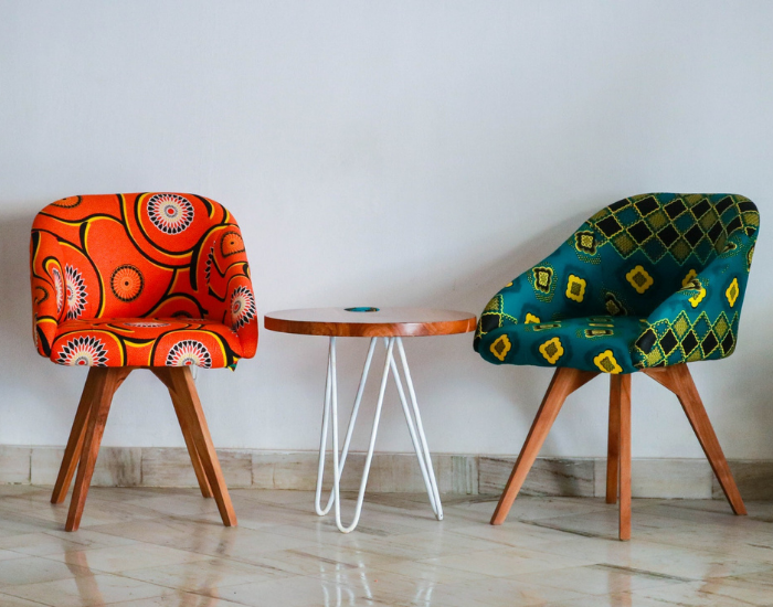 Printed colorful chairs