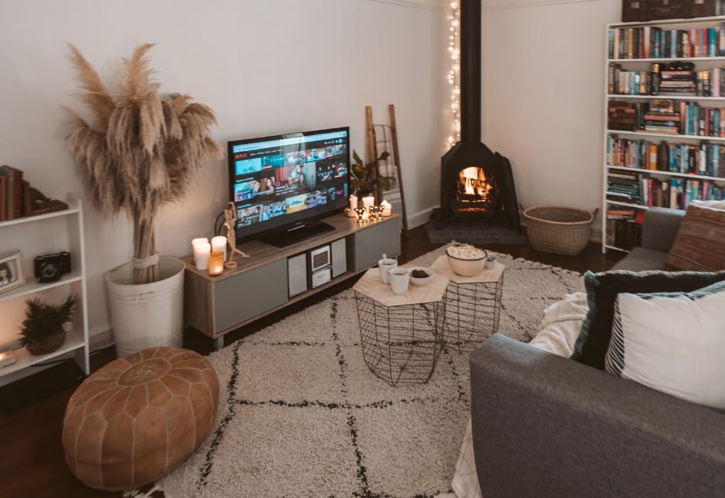 Cozy room set-up for a Netflix night