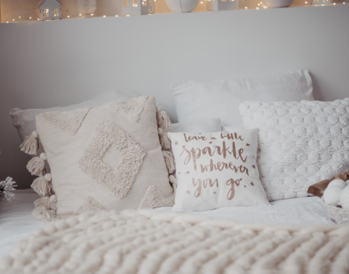 Throw pillows and cozy oversized blankets for winter