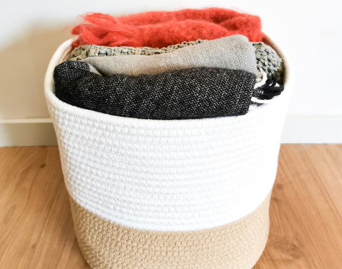 Entryway basket for winter texture