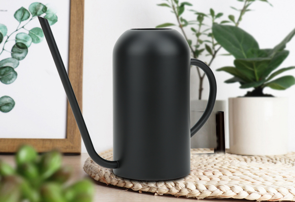 Long Sprout Stainless Steel Black Watering Can