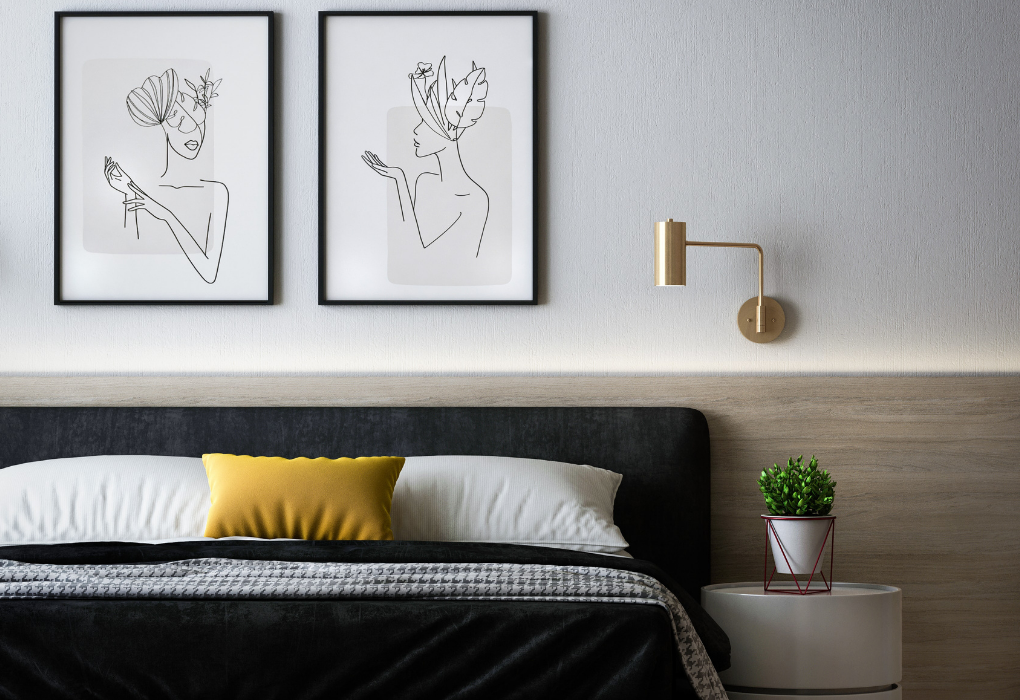 Minimalist modern bedroom with abstract line wall arts