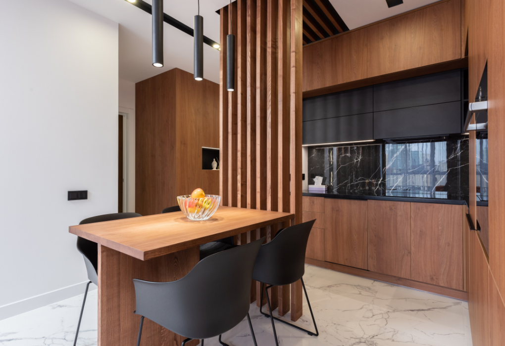 Kitchen and dining room divided by a wooden partition