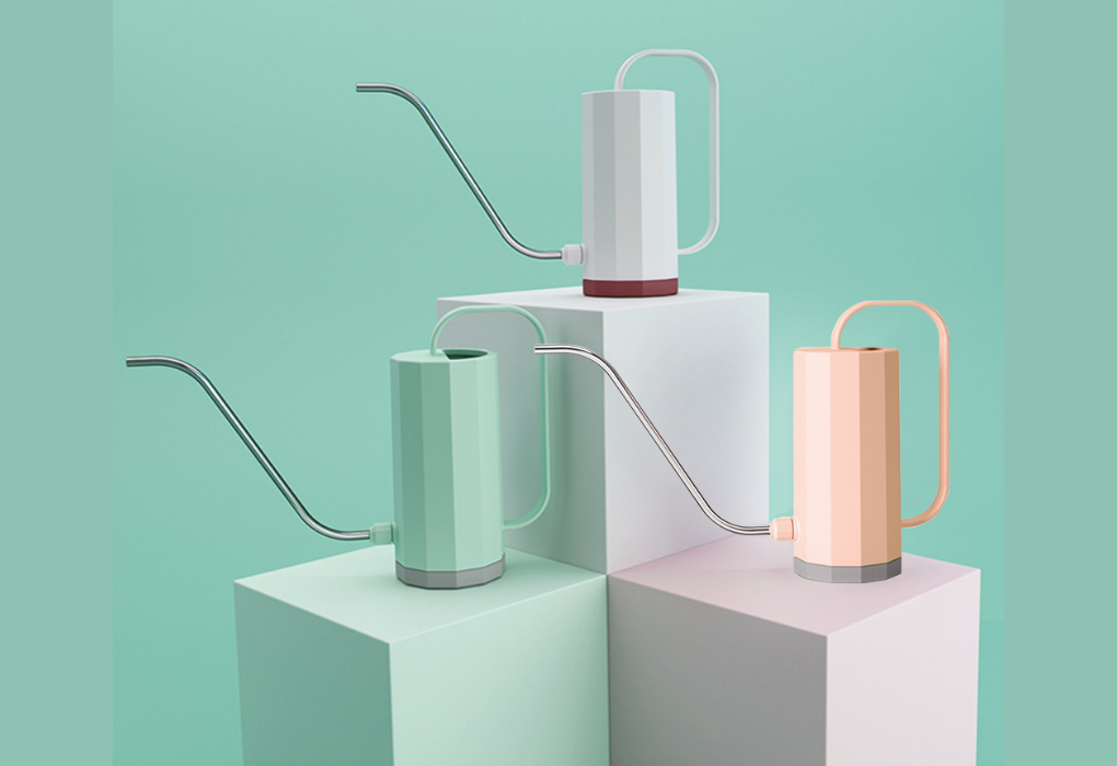 Pastel colored watering can