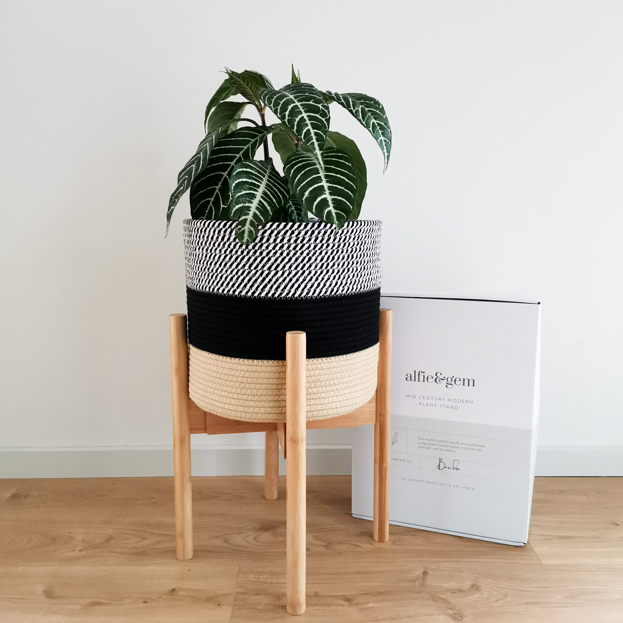 Mid-century plant stand and pot cover