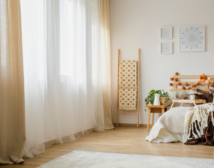 Neutral minimalist curtains for bedroom
