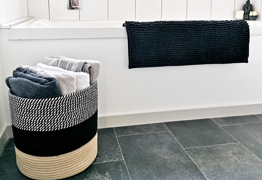 Woven basket for towels and laundry