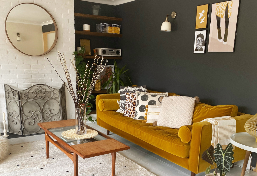 Dark gray accent wall in the living room