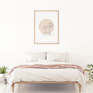 Modern contemporary line art for minimalist bedroom. Digital and printable wall art.