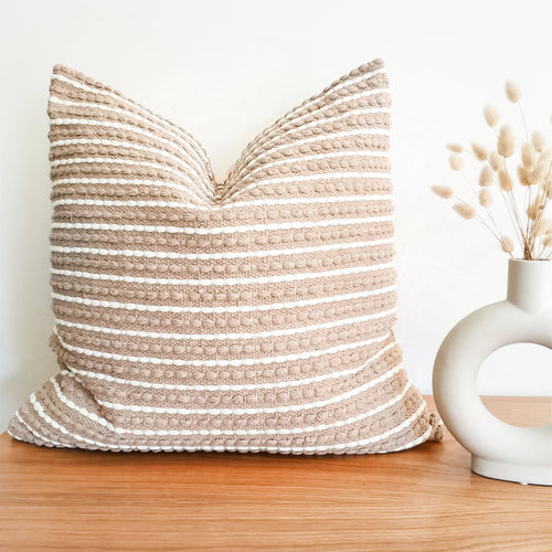 Beige boho pillow with white stripes
