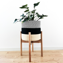 Load image into Gallery viewer, Elevate your plants and decor with the sleek design of our minimalist plant stand. This sturdy, yet lightweight modern plant stand is handcrafted from acacia and bamboo wood that complements contemporary, farmhouse, rustic, mid-century modern interirors.