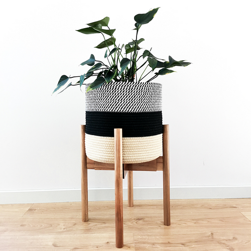 Elevate your plants and decor with the sleek design of our minimalist plant stand. This sturdy, yet lightweight modern plant stand is handcrafted from acacia and bamboo wood that complements contemporary, farmhouse, rustic, mid-century modern interirors.