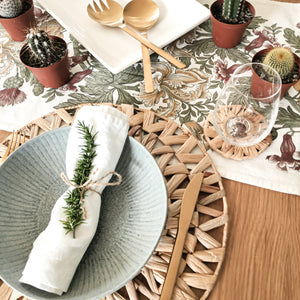 Round handwoven natural seagrass placemats perfect for casual everyday dining or Christmas holiday parties.