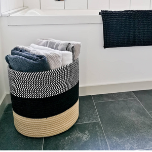 Black and white cotton rope basket for storing laundry, towels, pillows, rugs. Decorative and multi-functional jute basket.