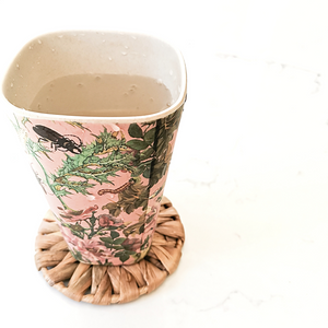 Rounded natural seagrass coasters for cups, mugs, tumblers.