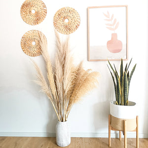 Rounded natural seagrass perfect as an eco-chic and boho wall decor.