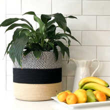 Load image into Gallery viewer,  plant basket, hand woven jute, black and white rope. Great for indoor plants such as fiddle leaf fig tree, snake plant, lily plant and more
