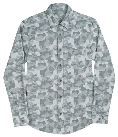 Camo Jacquard Button Down Shirt - Jungle