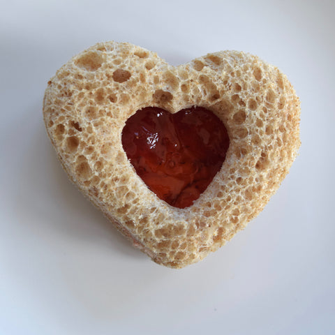 Heart-Shaped Strawberry Jam and Cream Cheese Sandwiches (Toddler Chef-Friendly)