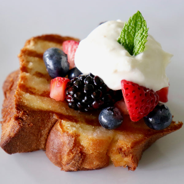 Grilled Pound Cake with Mixed Berries and Fresh Whipped Cream