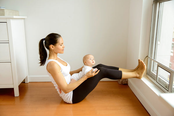 Mommy Baby Yoga Half Boat Pose