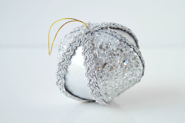 Glittered Paper Mache Onion Ornament